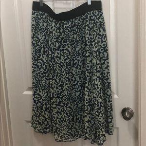 LuLaRoe Blue/Green Leopard Print Midi Skirt Sz 2X